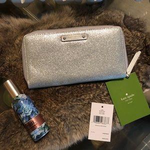 NWT Kate Spade Wallet- silver sparkle